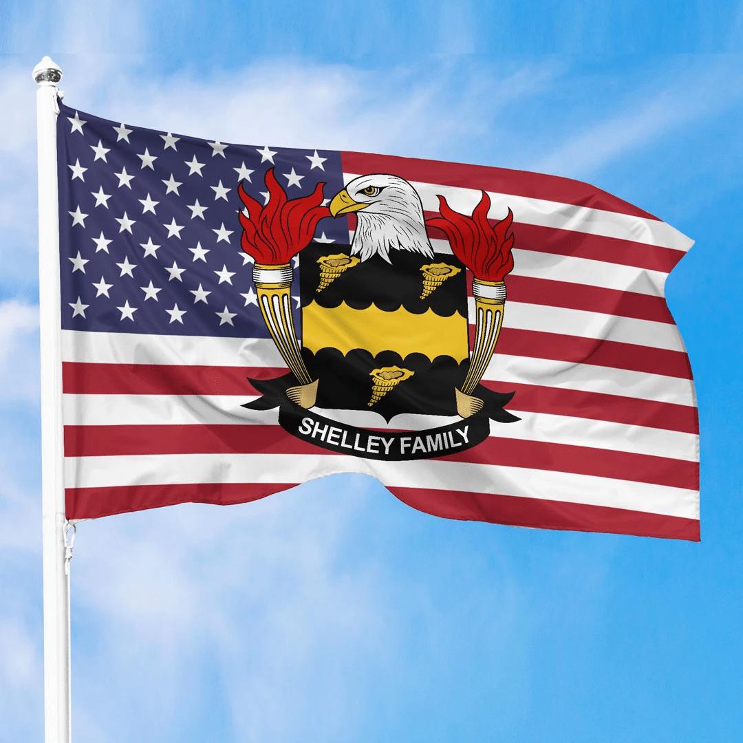 1sttheworld Premium Flag - Shelley American Family Crest Flag A7