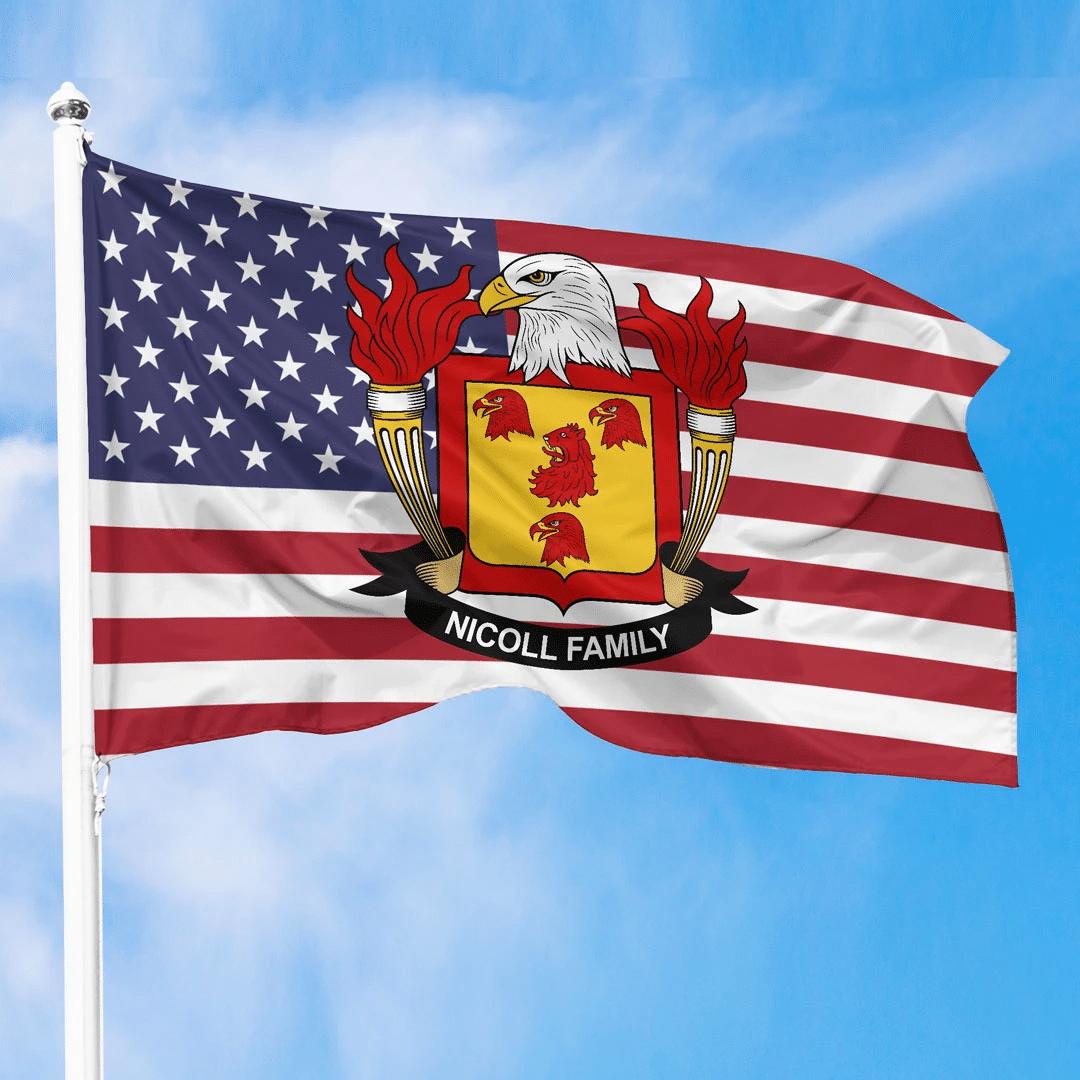 1sttheworld Premium Flag - Nicoll American Family Crest Flag A7