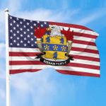 1sttheworld Premium Flag - Kissam American Family Crest Flag A7