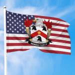 1sttheworld Premium Flag - Norris American Family Crest Flag A7