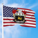 1sttheworld Premium Flag - Flower American Family Crest Flag A7