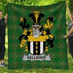 1sttheworld Premium Quilt - Kelleher Or O'Kelleher Irish Family Crest Quilt - Irish National Tartan A7