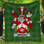 1sttheworld Premium Quilt - Meehan Or O'Meighan Irish Family Crest Quilt - Irish National Tartan A7