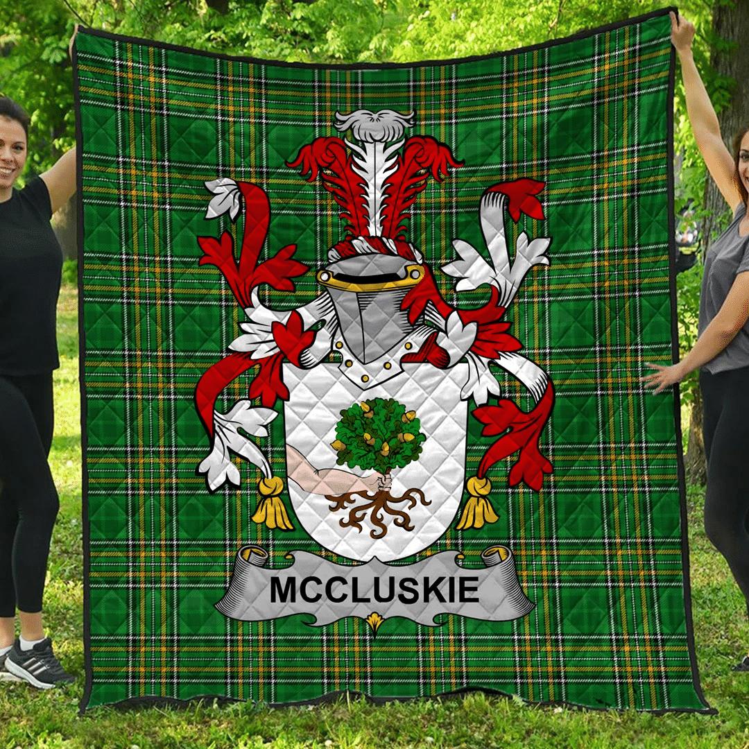 1sttheworld Premium Quilt - Mccluskie Or Mccloskie Irish Family Crest Quilt - Irish National Tartan A7