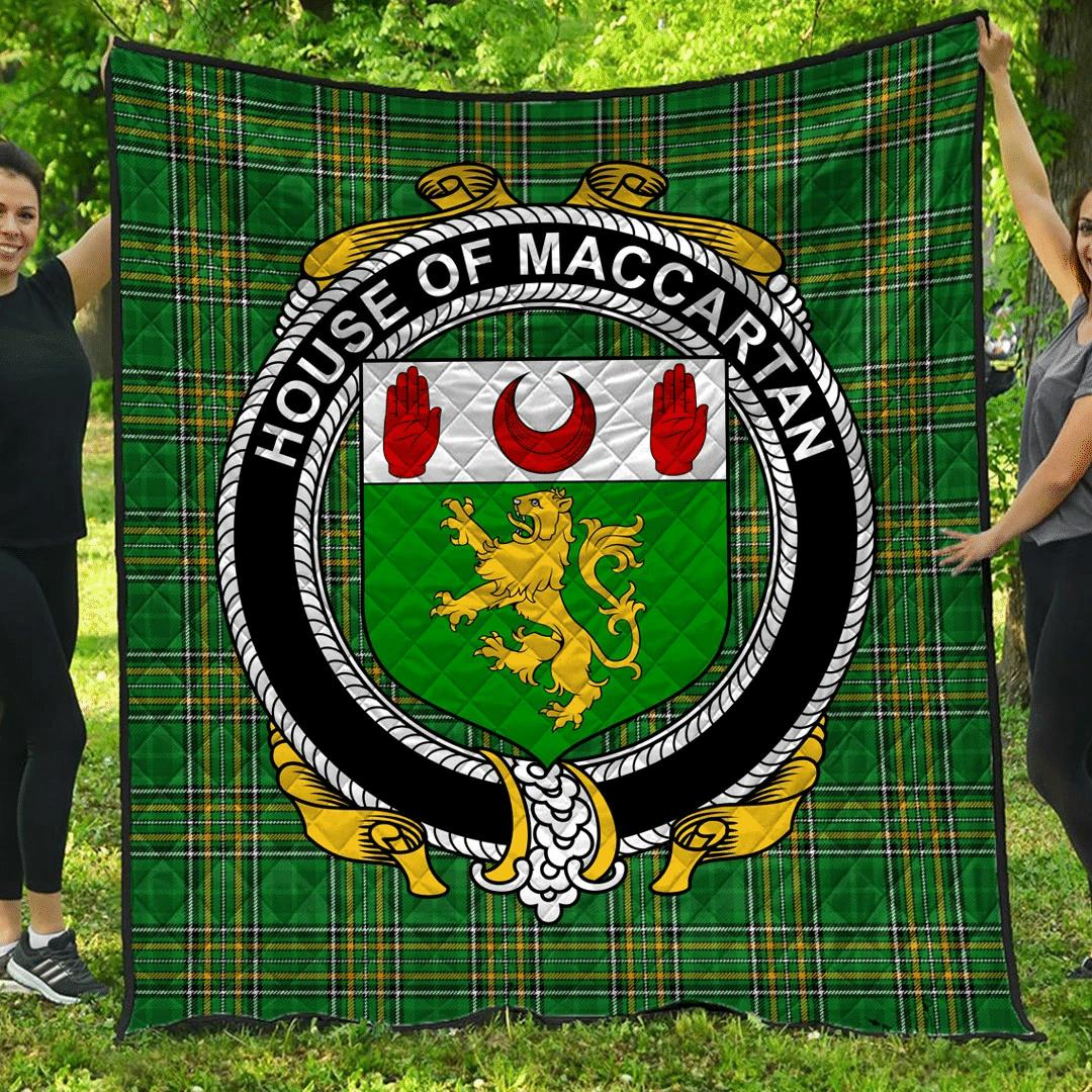 1sttheworld Premium Quilt - House Of Maccartan Irish Family Crest Quilt - Irish National Tartan A7