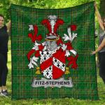 1sttheworld Premium Quilt - Fitz-Stephens Irish Family Crest Quilt - Irish National Tartan A7