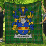1sttheworld Premium Quilt - Grainger Irish Family Crest Quilt - Irish National Tartan A7