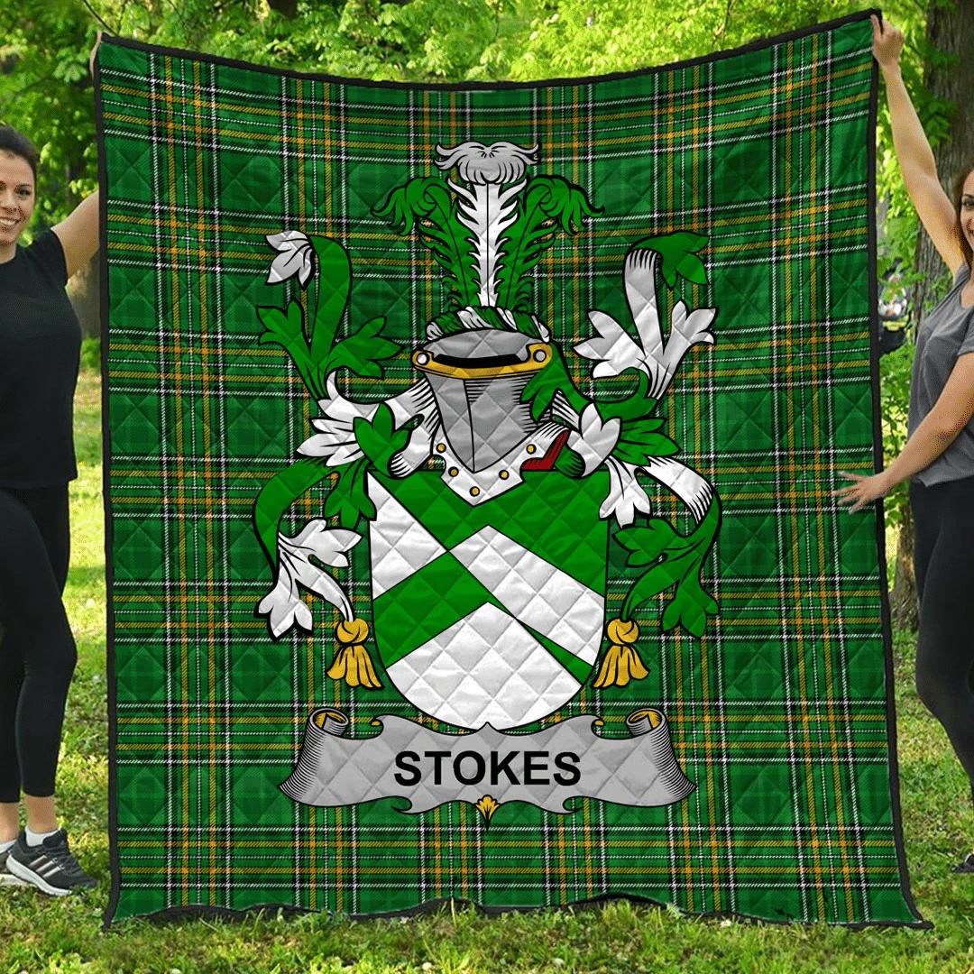1sttheworld Premium Quilt - Stokes Irish Family Crest Quilt - Irish National Tartan A7