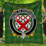 1sttheworld Premium Quilt - House Of Fitzgibbon Irish Family Crest Quilt - Irish National Tartan A7