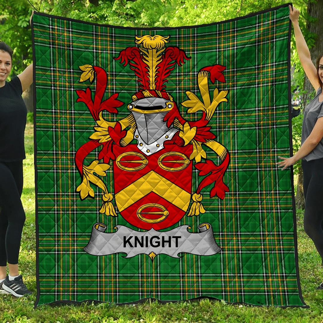1sttheworld Premium Quilt - Knight Irish Family Crest Quilt - Irish National Tartan A7