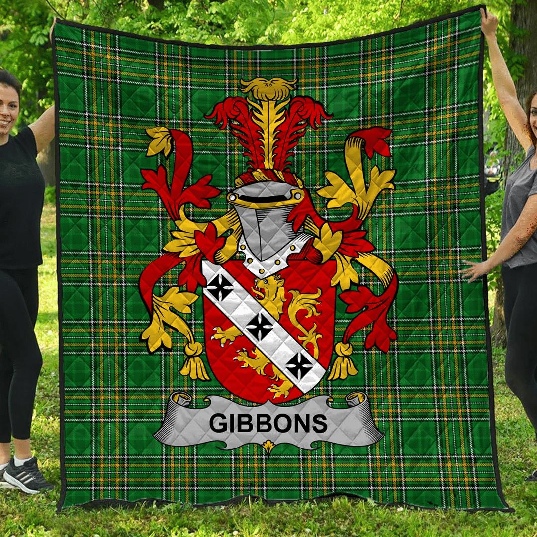 1sttheworld Premium Quilt - Gibbons Or Mcgibbons Irish Family Crest Quilt - Irish National Tartan A7