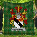 1sttheworld Premium Quilt - Fitz-Herbert Irish Family Crest Quilt - Irish National Tartan A7