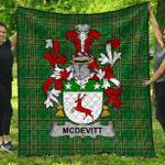 1sttheworld Premium Quilt - Mcdevitt Irish Family Crest Quilt - Irish National Tartan A7