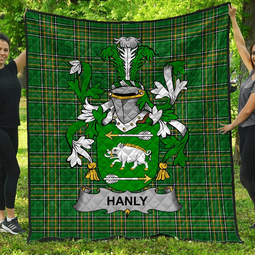 1sttheworld Premium Quilt - Hanly Or O'Hanley Irish Family Crest Quilt - Irish National Tartan A7