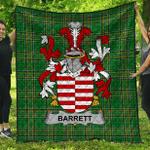 1sttheworld Premium Quilt - Barrett Irish Family Crest Quilt - Irish National Tartan A7