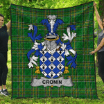 1sttheworld Premium Quilt - Cronin Or O'Cronin Irish Family Crest Quilt - Irish National Tartan A7