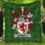 1sttheworld Premium Quilt - Russell Irish Family Crest Quilt - Irish National Tartan A7