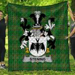 1sttheworld Premium Quilt - Stening Irish Family Crest Quilt - Irish National Tartan A7