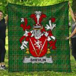 1sttheworld Premium Quilt - Shevlin Irish Family Crest Quilt - Irish National Tartan A7