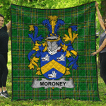 1sttheworld Premium Quilt - Moroney Or O'Moroney Irish Family Crest Quilt - Irish National Tartan A7