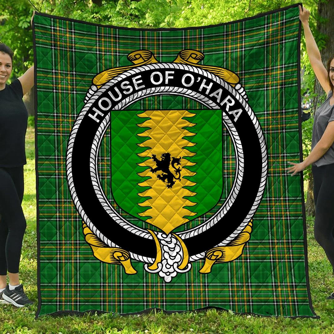 1sttheworld Premium Quilt - House Of O'Hara Irish Family Crest Quilt - Irish National Tartan A7