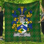 1sttheworld Premium Quilt - Pike Irish Family Crest Quilt - Irish National Tartan A7