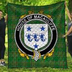 1sttheworld Premium Quilt - House Of Macauliffe Irish Family Crest Quilt - Irish National Tartan A7