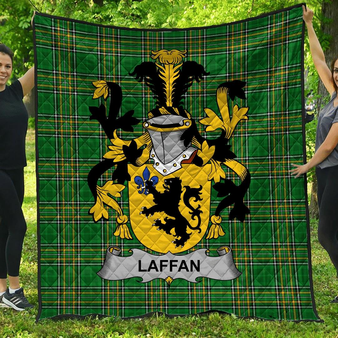 1sttheworld Premium Quilt - Laffan Irish Family Crest Quilt - Irish National Tartan A7