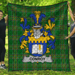 1sttheworld Premium Quilt - Conroy Or O'Mulconroy Irish Family Crest Quilt - Irish National Tartan A7