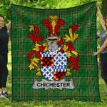 1sttheworld Premium Quilt - Chichester Irish Family Crest Quilt - Irish National Tartan A7