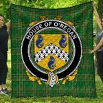 1sttheworld Premium Quilt - House Of O'Regan Irish Family Crest Quilt - Irish National Tartan A7