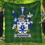 1sttheworld Premium Quilt - Shanahan Or O'Shanahan Irish Family Crest Quilt - Irish National Tartan A7
