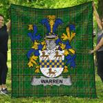 1sttheworld Premium Quilt - Warren Irish Family Crest Quilt - Irish National Tartan A7
