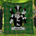 1sttheworld Premium Quilt - Neilan Or O'Neylan Irish Family Crest Quilt - Irish National Tartan A7