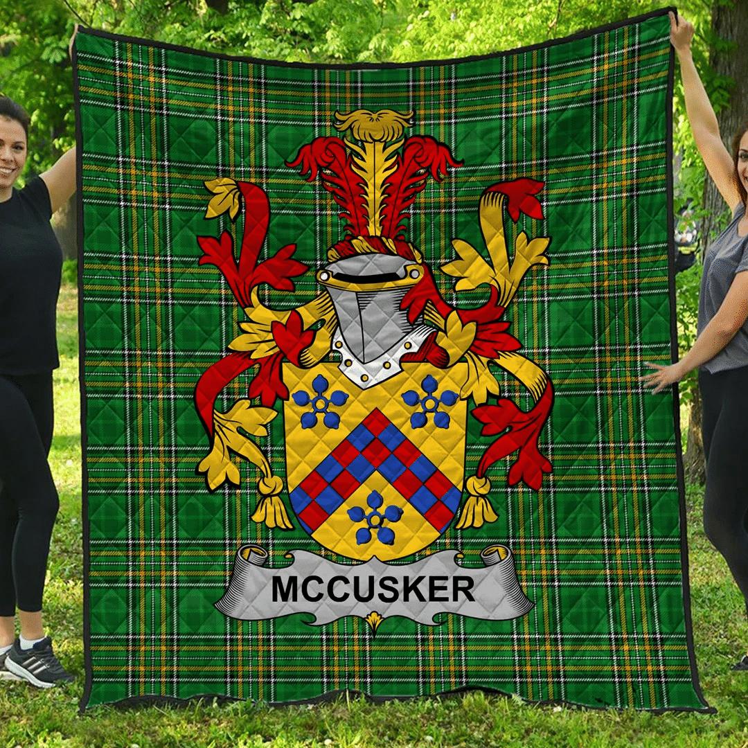 1sttheworld Premium Quilt - Mccusker Or Cosker Irish Family Crest Quilt - Irish National Tartan A7