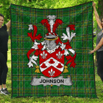 1sttheworld Premium Quilt - Johnson Irish Family Crest Quilt - Irish National Tartan A7