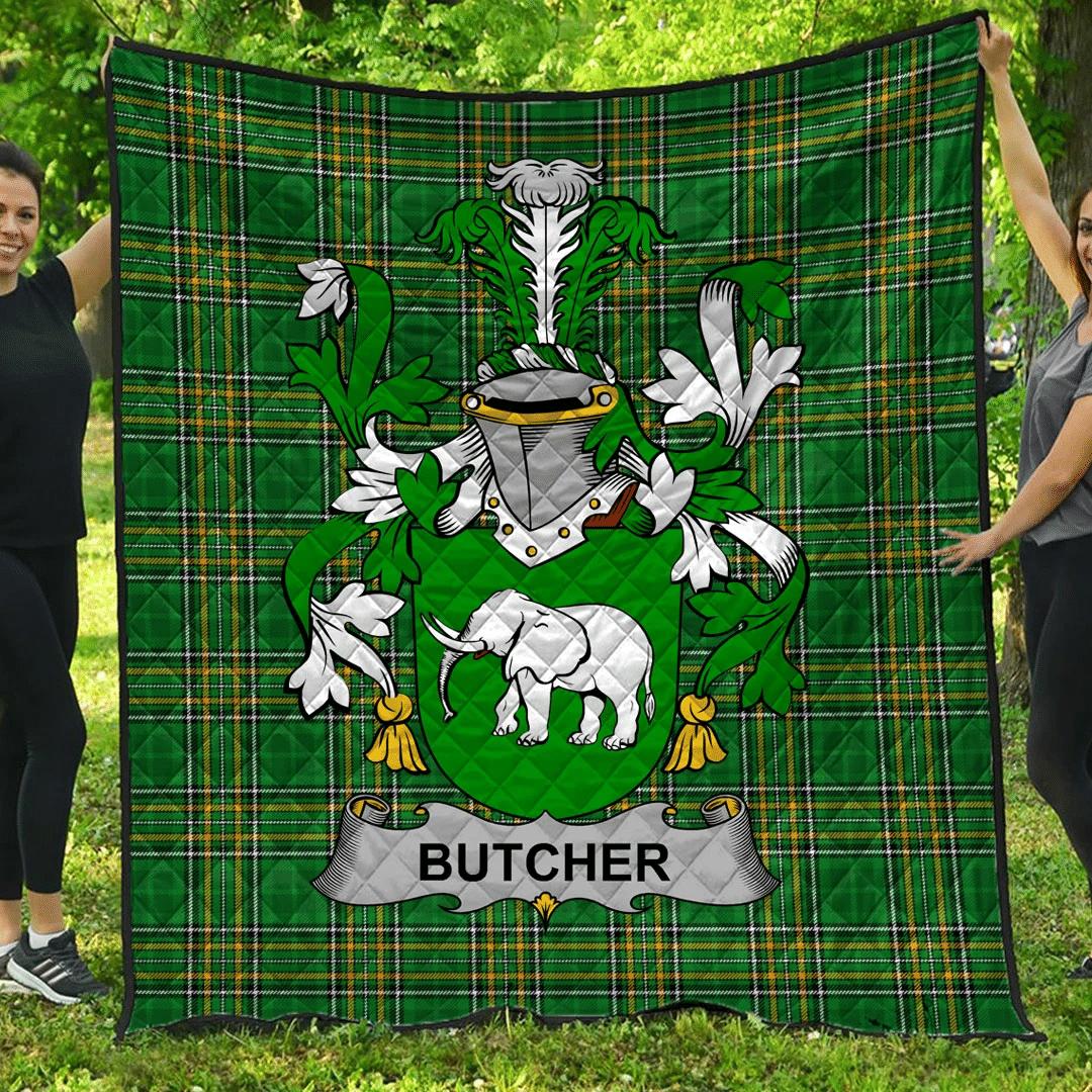 1sttheworld Premium Quilt - Butcher Irish Family Crest Quilt - Irish National Tartan A7