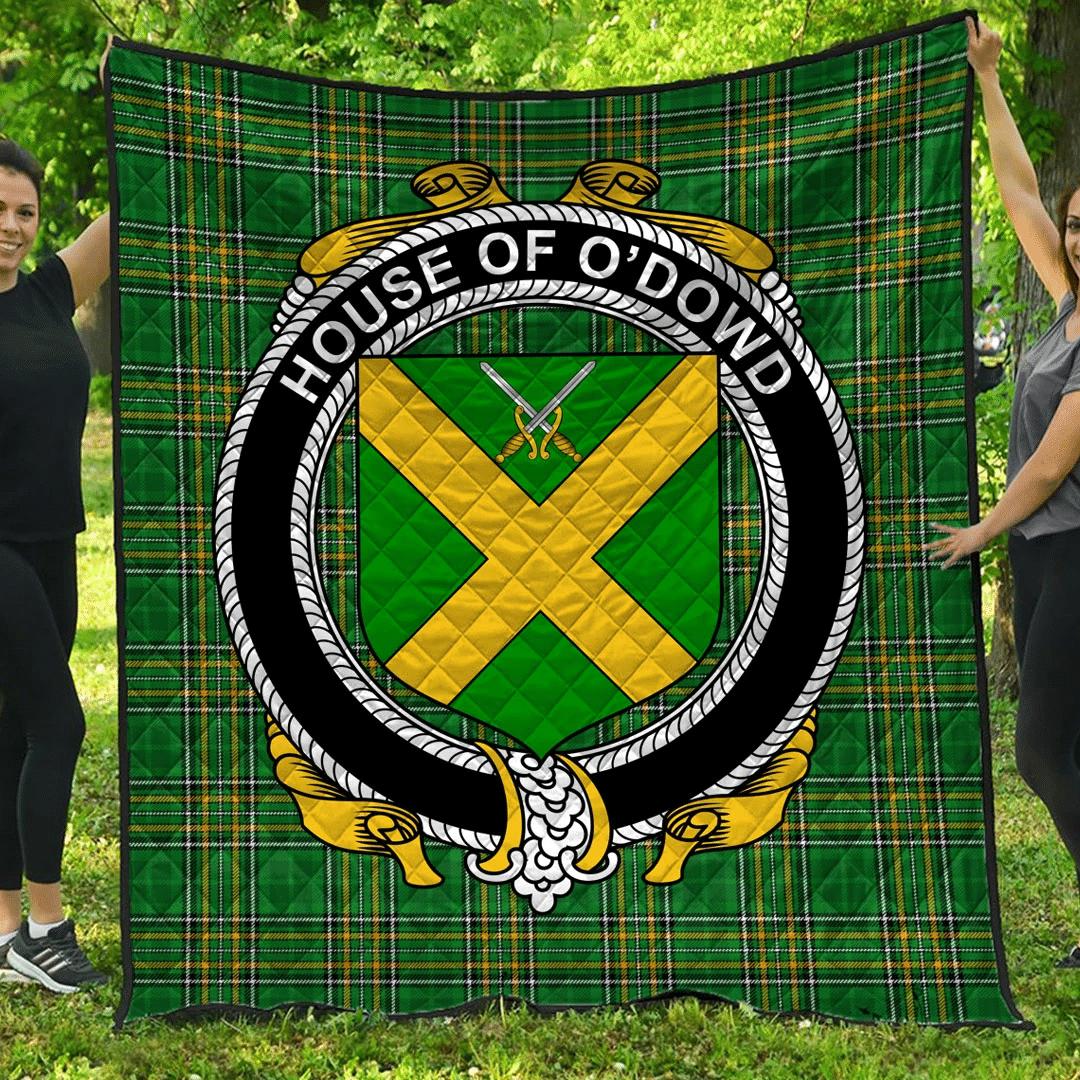 1sttheworld Premium Quilt - House Of O'Dowd Irish Family Crest Quilt - Irish National Tartan A7