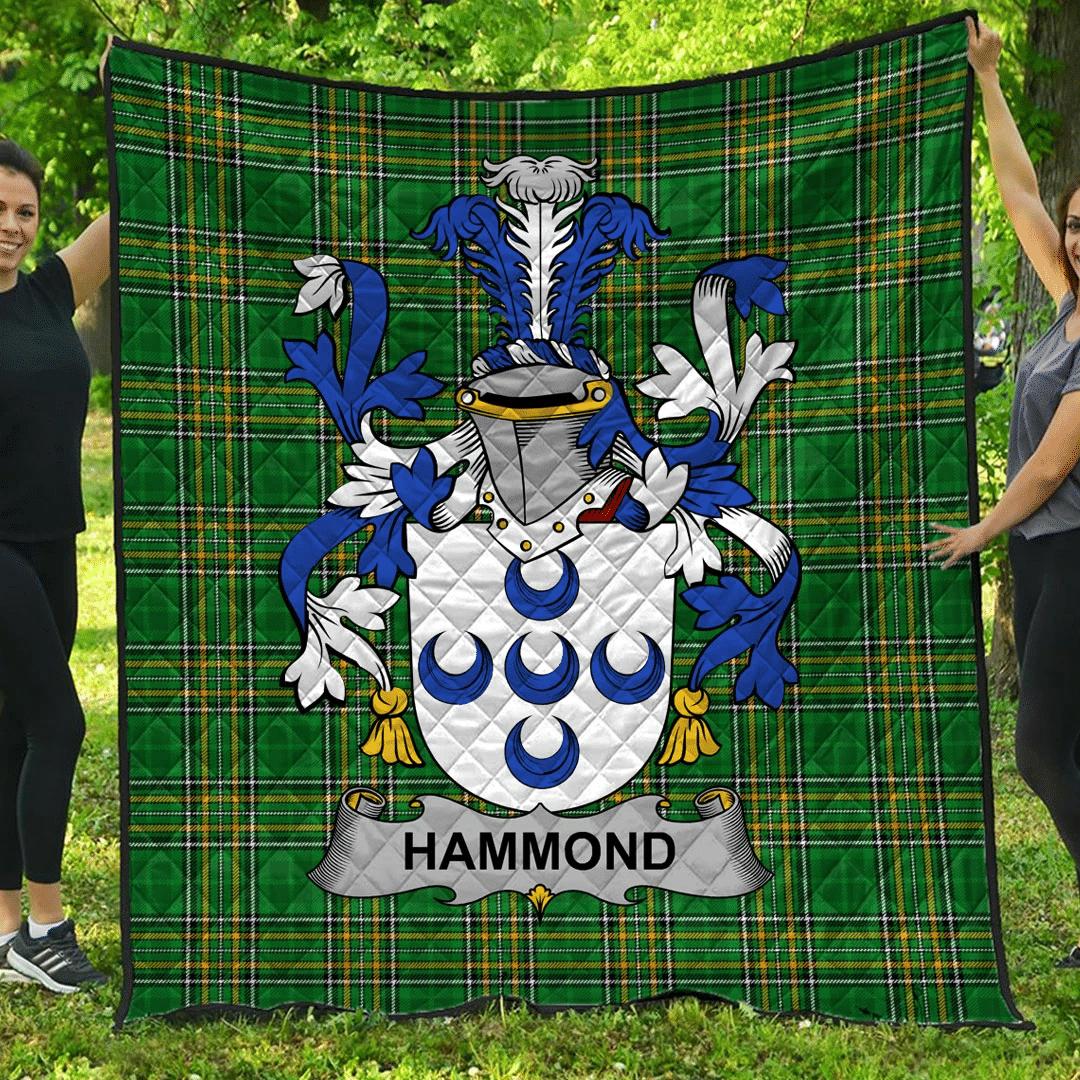 1sttheworld Premium Quilt - Hammond Irish Family Crest Quilt - Irish National Tartan A7