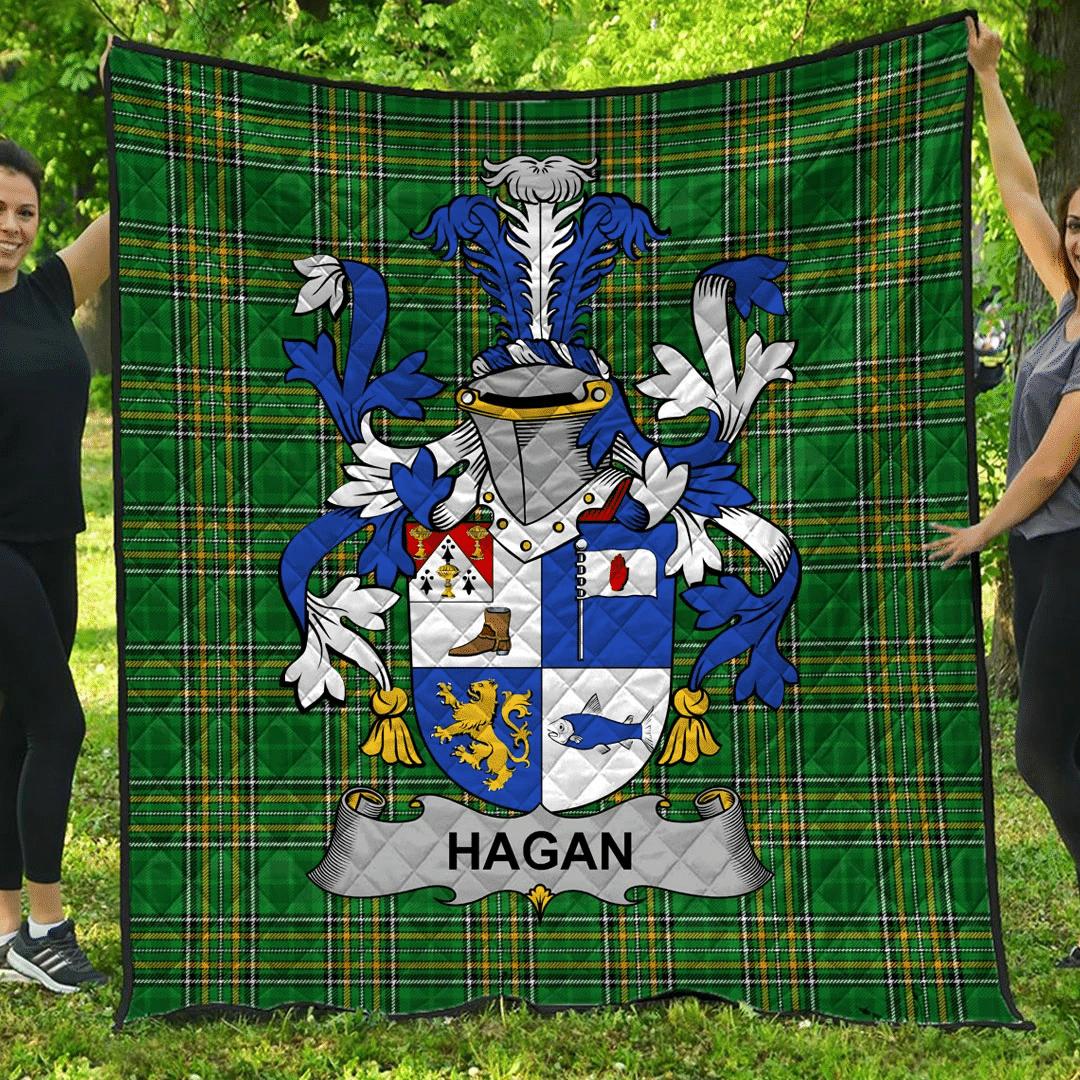1sttheworld Premium Quilt - Hagan Or O'Hagan Irish Family Crest Quilt - Irish National Tartan A7