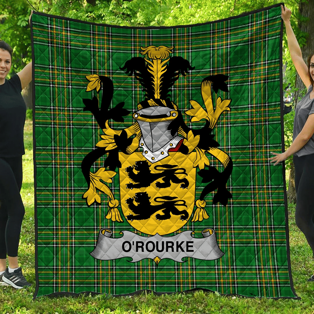 1sttheworld Premium Quilt - O'Rourke Irish Family Crest Quilt - Irish National Tartan A7