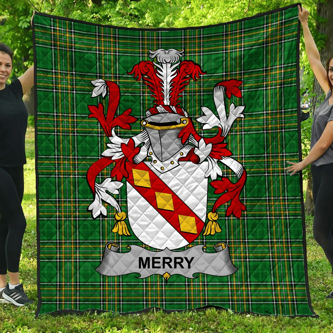 1sttheworld Premium Quilt - Merry Or O'Merry Irish Family Crest Quilt - Irish National Tartan A7