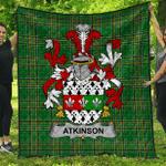 1sttheworld Premium Quilt - Atkinson Irish Family Crest Quilt - Irish National Tartan A7