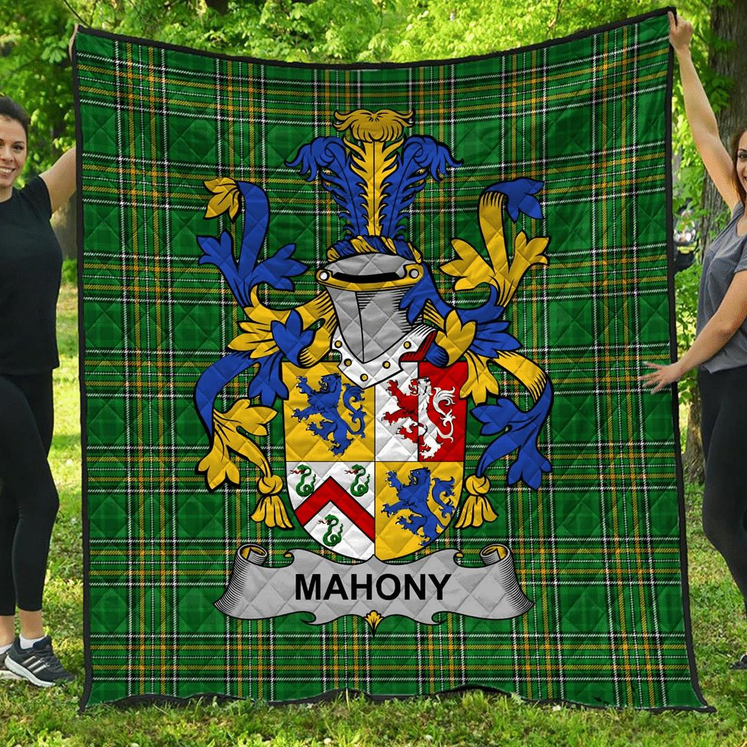 1sttheworld Premium Quilt - Mahony Or O'Mahoney Irish Family Crest Quilt - Irish National Tartan A7