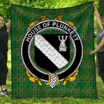 1sttheworld Premium Quilt - House Of Plunkett Irish Family Crest Quilt - Irish National Tartan A7