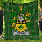 1sttheworld Premium Quilt - Grehan Or O'Greaghan Irish Family Crest Quilt - Irish National Tartan A7