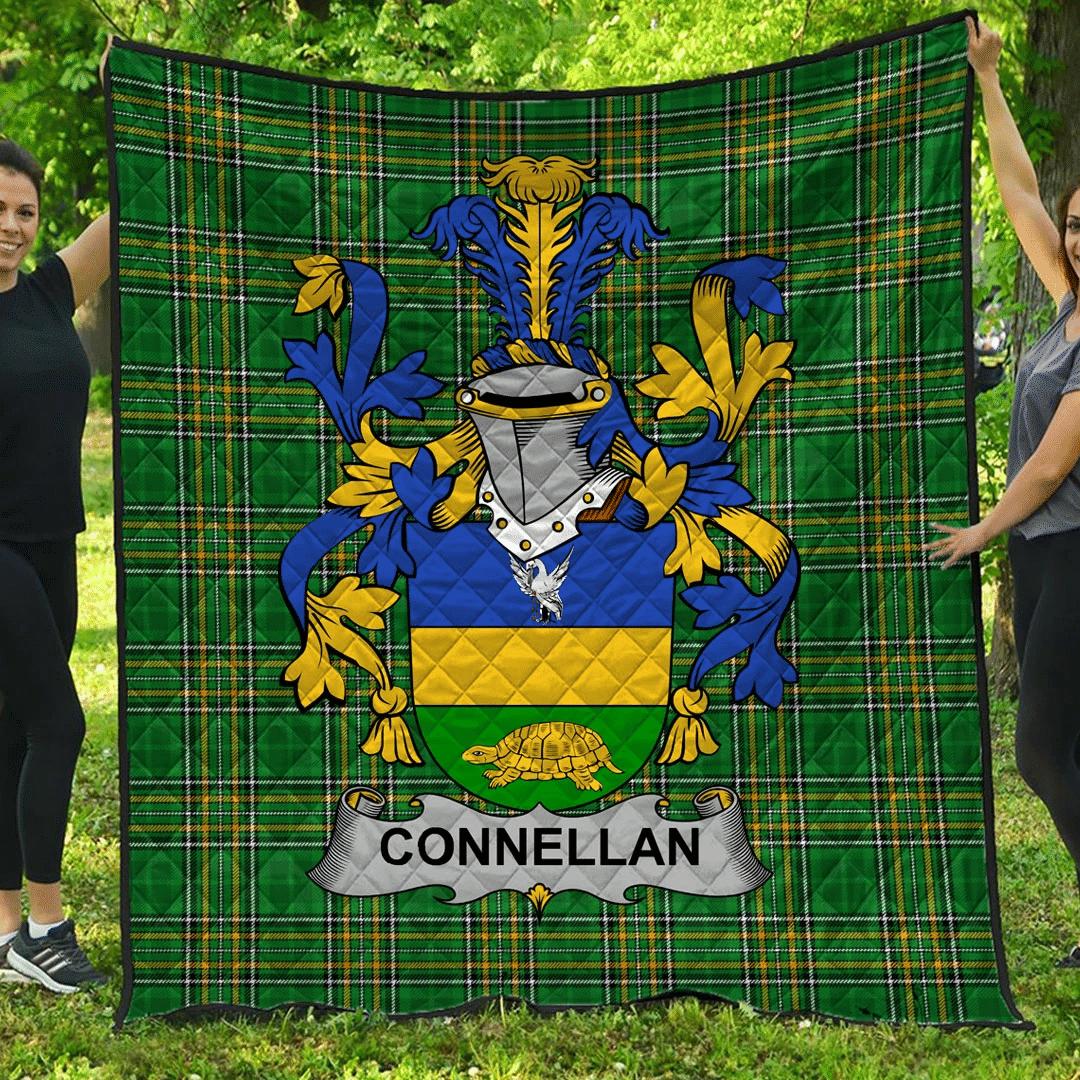 1sttheworld Premium Quilt - Connellan Or O'Connellan Irish Family Crest Quilt - Irish National Tartan A7
