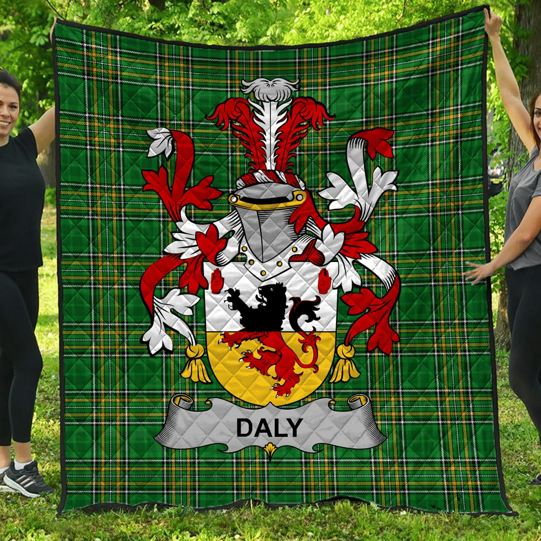 1sttheworld Premium Quilt - Daly Or O'Daly Irish Family Crest Quilt - Irish National Tartan A7