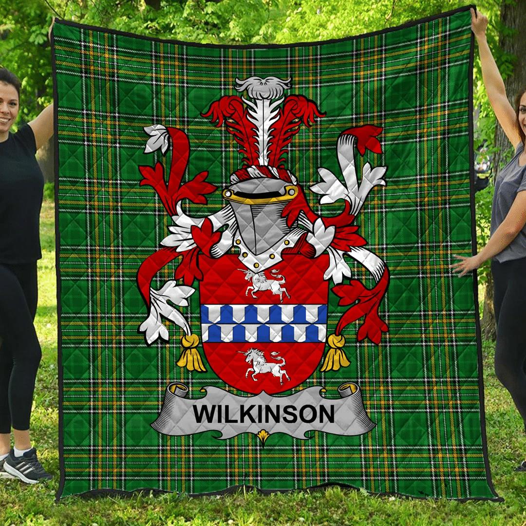 1sttheworld Premium Quilt - Wilkinson Irish Family Crest Quilt - Irish National Tartan A7