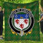 1sttheworld Premium Quilt - House Of O'Kearney Irish Family Crest Quilt - Irish National Tartan A7